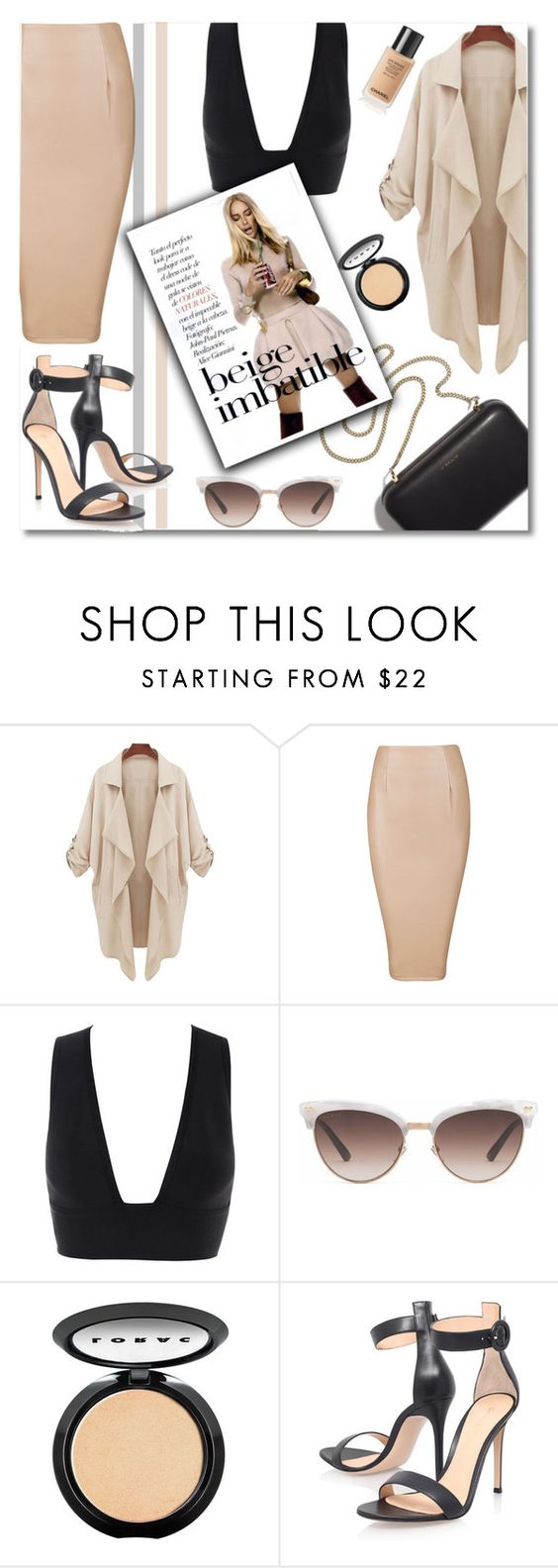 """#329"" by anilovic ❤ liked on Polyvore featuring Clare V., Gucci, LORAC, Gianvito Rossi and beige"