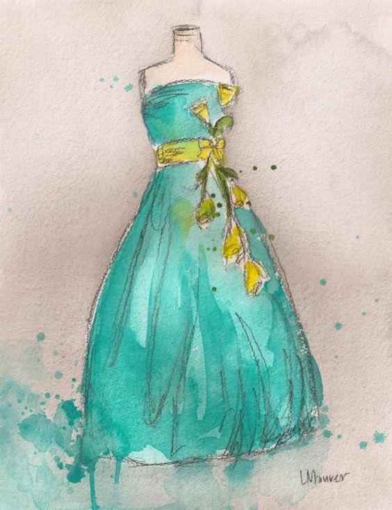 """""""Vintage Aqua Ballgown""""  ~~  Artist ~Lauren Maurer~"""