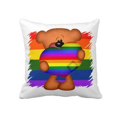Cute Bear With Heart Pillow : Gay pride #rainbow heart and #teddy bear #cushion / pillow .. extra cute bear holding a giant ...