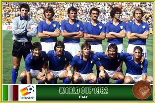 Italy team group at the 1982 World Cup Finals.