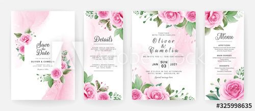 Wedding Invitation Card Template Set With Watercolor Floral Border F Wedding Invitation Card Template Wedding Invitation Cards Elegant Wedding Invitation Card