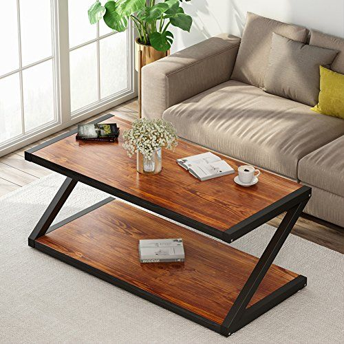 Rustic Coffee Table Little Tree 48 Large Rectangular Wood Center Table With Lower Storage Open In 2020 Living Room Center Coffee Table Modern Industrial Living Room
