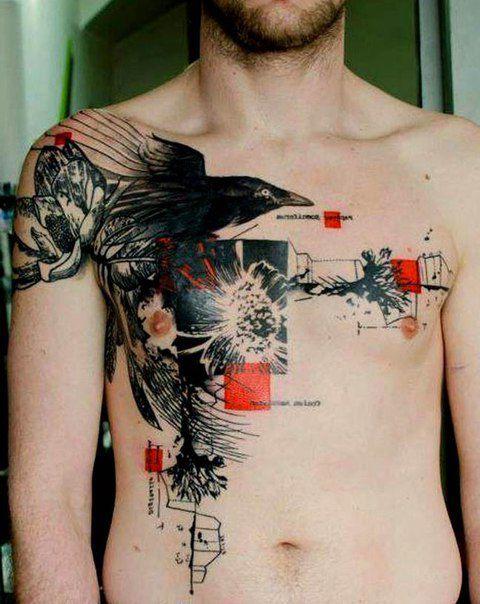 and Abstract tattoo sleeves Breaking Heart Raven Trash Polka tattoo ...