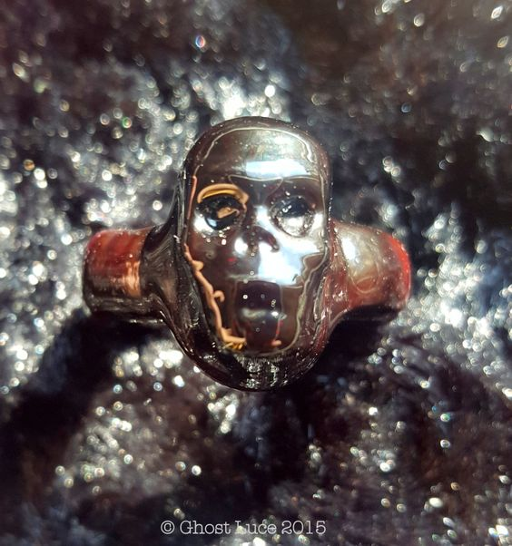 """Hand Made """"Wenches"""" Glass Skull Ring Blood Red Women's size 6 Ghost Luce by GhostLuceCreations on Etsy"""