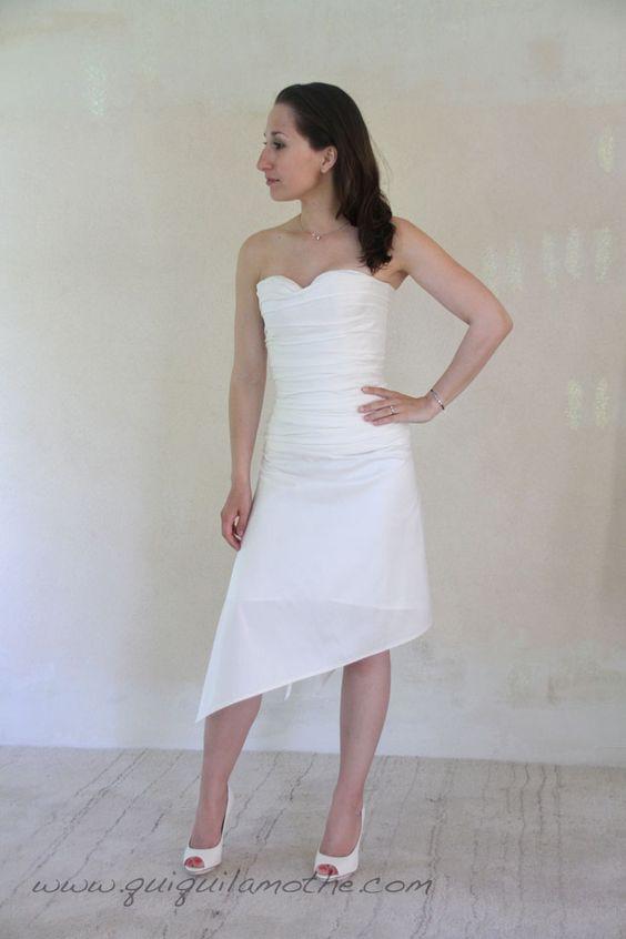 Robe de mariée transformable courte soie.