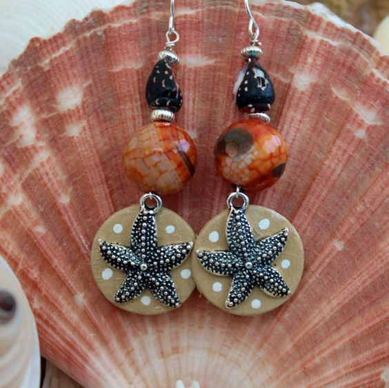 """BeOnTheSea Starfish Seashell Earrings with Crackle Fire Agate, Wood and Starfish Charms, Handmade, One Of a Kind Earrings """"Star Of the Show"""" $10.00 USD"""