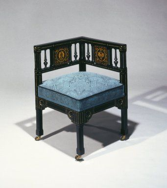 Maker: Kimbel and Cabus, 1863-1882  Medium: Ebonized cherry wood, gilt-incised decoration, modern upholstery  Place Manufactured: New York, New York, USA  Dates: ca. 1880