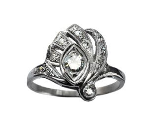 1920-30s Art Deco Eye of Horus Diamond Ring, $950
