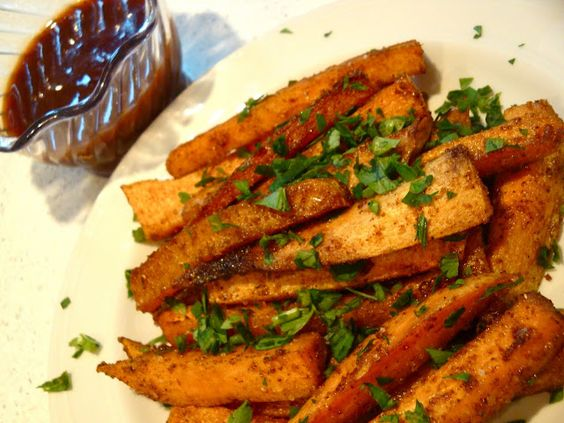 Spiced Sweet Potato Fries with Maple BBQ sauce