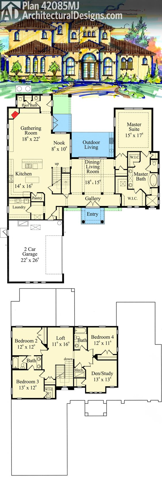 Villas Master Bedrooms And House Plans On Pinterest