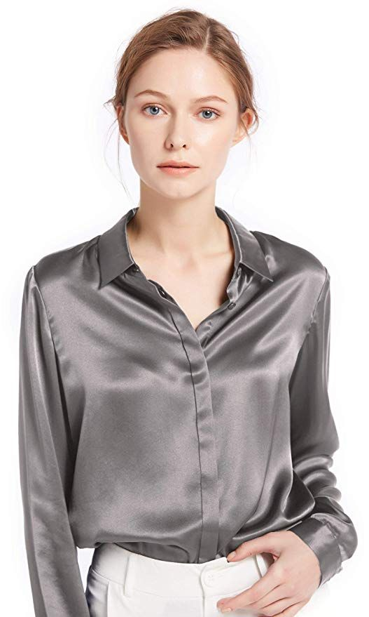 LilySilk Womens Charmeuse Silk Blouse Long Sleeve Ladies Top Shirt 100/% Pure 22 Momme Silk