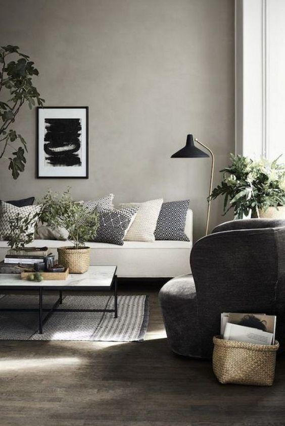 Nordic Modern Living Room Dark Wooden Floor White Couch Grey Wall Plants Scandinavian Design Living Room Nordic Style Living Room Living Room Scandinavian