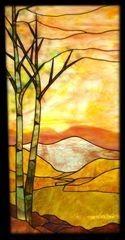 vitraux paysages | Modèle pour vitrail - Paysage