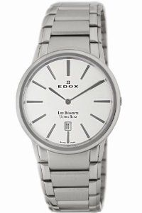 Edox Men's 27030 3 AIN Les Bemonts Round Ultra Slim Watch Edox. $569.00. Silver tone indices; Date window at 6 o'clock; Brushed and polished stainless steel bracelet. Silver tone indices. Ultra slim case. Water-resistant to 99 feet (30 M). Date window at 6 o'clock. Save 64%!
