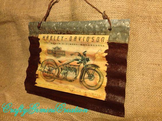 Vintage Corrigated Barn Tin Harley by CraftyGeminiCreation on Etsy, $22.50