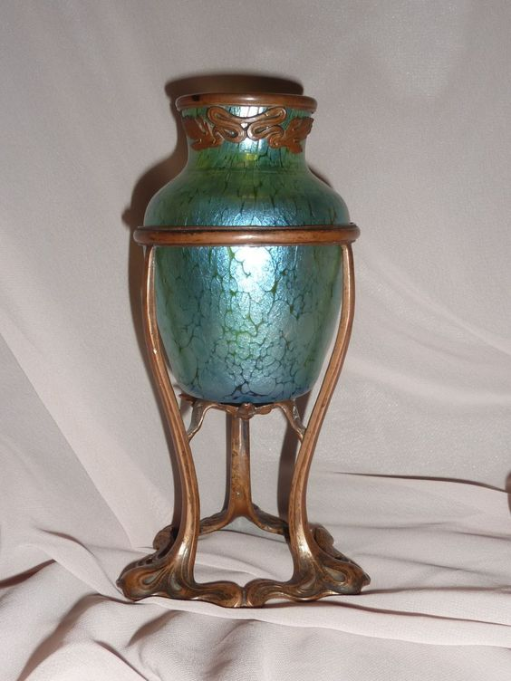 Loetz Papillion Iridescent Glass Vase With Art Nouveau  Metal Mounts