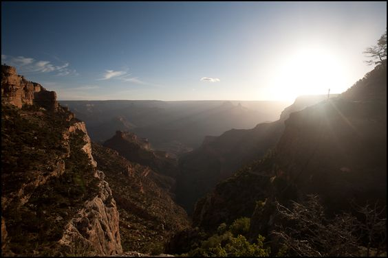 Descending down the Bright Angel Trail (Grand Canyon) during sunrise is a beautiful thing!