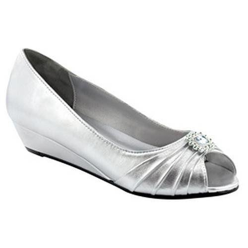 Anette Silver Low Heel Wedge Peep Toe Dress Wide Width Shoes ...