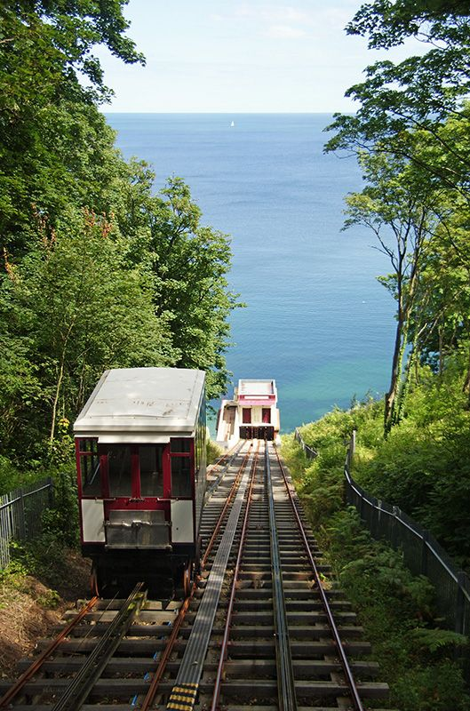 Babbacombe cliff railway built into the cliff in 1926, Babbacombe, Devon.