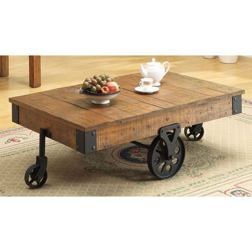 Distressed Country Wagon Coffee Table Coaster Furniture Cocktail