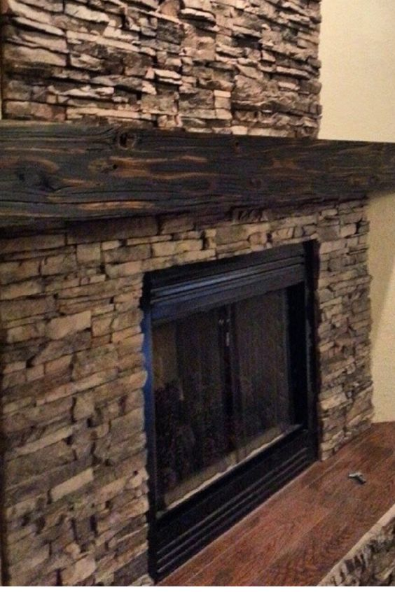 Reclaimed wood ledge stone fireplace diy pinterest - Stone and wood fireplace ...