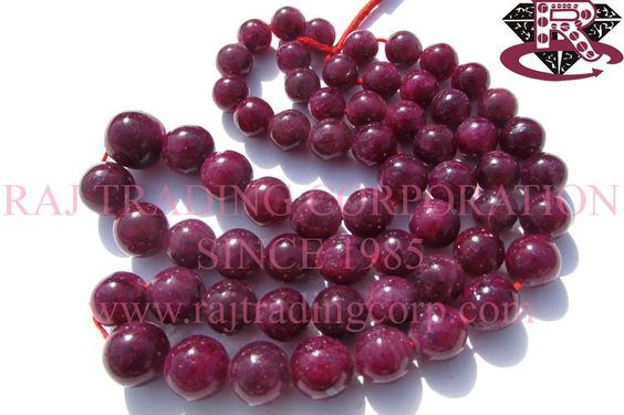 Ruby (Color Enhanced) Smooth Round (Quality A+) Shape: Round Smooth Length: 36 cm Weight Approx: 107 to 109 Grms. Size Approx: 10 to 15 mm Price $194.40 Each Strand