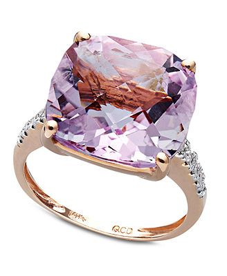 14k Rose Gold Ring, Pink Amethyst (9-1/2 ct. t.w.) and Diamond Accent Cushion Cut Ring