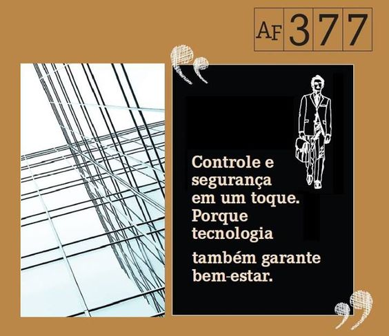 A definição certa para a escolha do melhor empreendimento de São Paulo. Pois controle e segurança é o que também ajuda a garantir seu bem-estar.    Conheça o nosso empreendimento:  www.af377.com.br