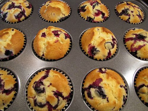 Lemon Blueberry Muffins. Just put some in the oven. We'll see how they turn out!