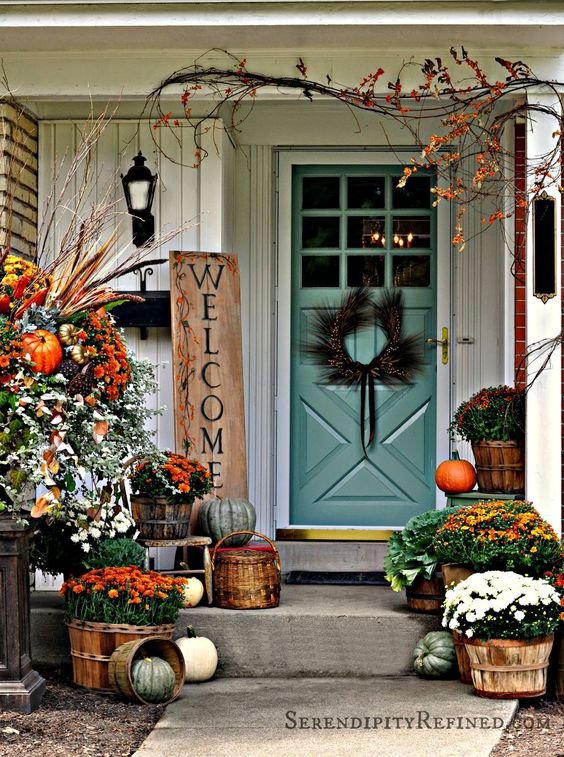 Serendipity Refined: Fall Harvest Porch Decor with Reclaimed Wood Sign: