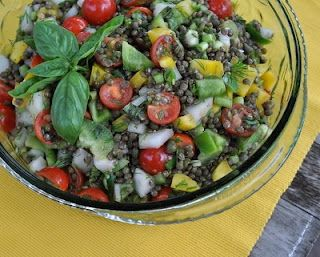 Lentil Salad with Tomatoes, Dill & Basil