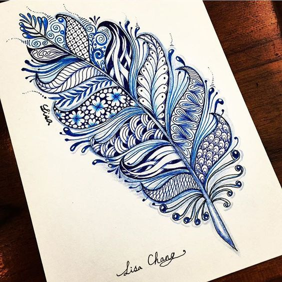 Feather zentangle with shades of blue.
