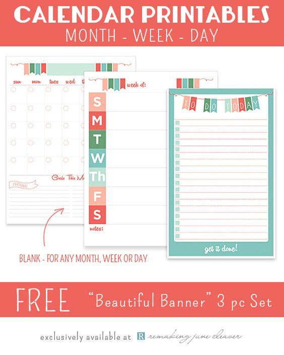 Weekly Goals Calendar : Printable calendar set quot beautiful banner