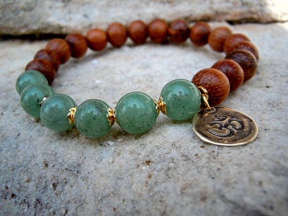 Emotional Healing / Yoga Bracelet / Wrist Mala / Aventurine / Mala Bracelet / Ohm Bracelet