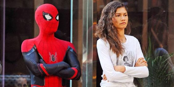 Tom Holland and Zendaya in a still from Far From Home
