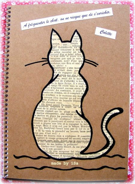 personnalisation couverture carnet # motif chat # recyclage vieux livre © made by iSa