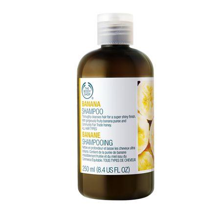 Body Shop - Banana Shampoo. This shampoo gently cleanses hair, leaving it beautifully shiny. It contains real banana puree and smells good enough to eat. #shampoo