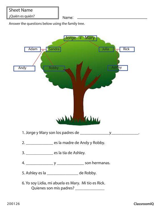 spanish family tree spanishworksheets classroomiq newteachers spanish worksheets level 1. Black Bedroom Furniture Sets. Home Design Ideas