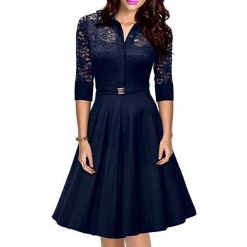 Elegant Solid Color 3/4 Sleeve Lace Design Cut Out Midi Dress For ...