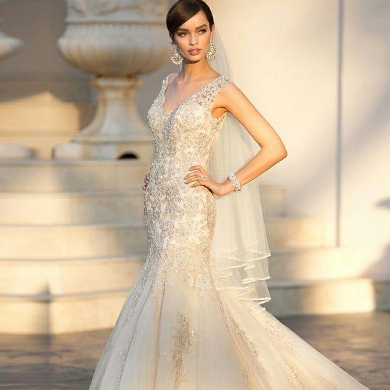Elegant Straps Pluging V-neck Beaded Lace Wedding Dresses with Deep V-back http://www.luckyweddinggown.com/elegant-straps-pluging-vneck-beaded-lace-wedding-dresses-with-deep-vback-p-2018.html  #wedding #dresses #dress #lightindream #lightindreaming #wed #clothing #gown #weddingdresses #dressesonline #dressonline #bride