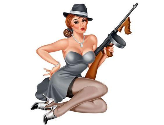 sexy tommy gun woman