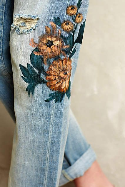 anthropology jeans denim flowers floral yellow painted embroidered vintage