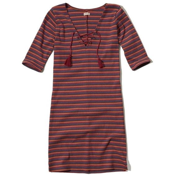 Hollister Lace-Up Ribbed Bodycon Dress ($24) ❤ liked on Polyvore featuring dresses, burgundy stripe, striped bodycon dress, ribbed knit dress, tassel dress, lace front dress and ribbed bodycon dress