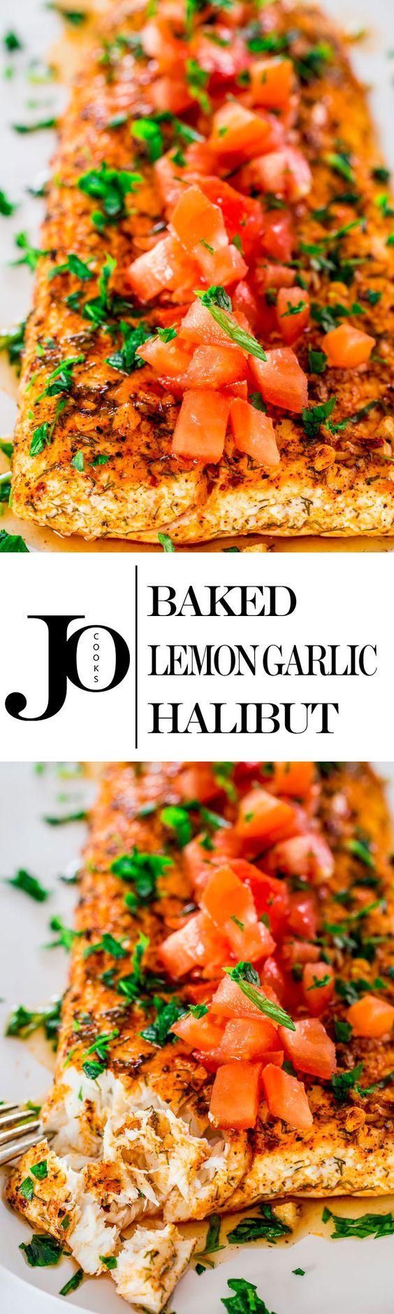 tasty lemon baked lemon and more halibut garlic clean eating lemon ...