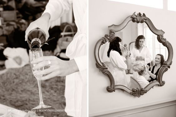 Champagne. Candid bride and bridesmaids. Wedding preparations. Nonsuch Mansion wedding photography. Romantic DIY handmade wedding at Nonsuch Mansion. Captured by Dennison Studios Photography. Surrey wedding photographer.