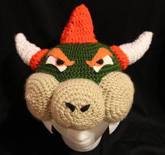 Crochet Pattern Mario Hat : Super Mario Brothers Bowser crochet hat/beanie My NEW ...