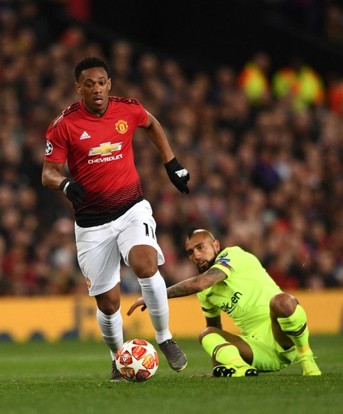 Tottenham Hotspur target Anthony Martial in action for Manchester United against Barcelona.