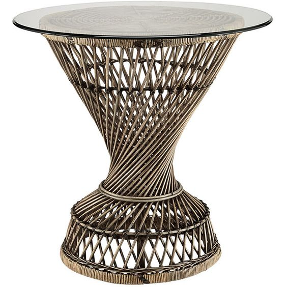 MERAK SIDE TABLE (¥47,855) ❤ liked on Polyvore featuring home, furniture, tables, accent tables, round furniture, rattan furniture, glass top table, round side tables and round accent table