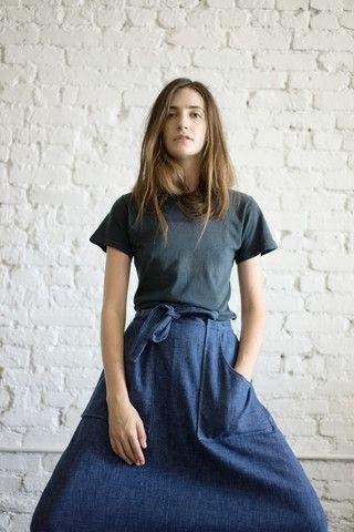 denim skirt // dark tee