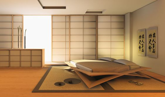 LOTO bed and Shoji partitions Loto bed, heat-moulded beech-wood in